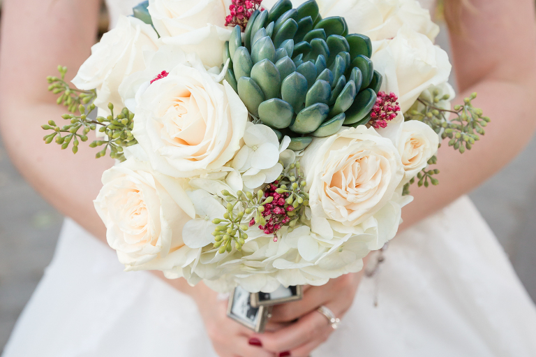 White roses and succulents bouquet